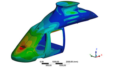 Finite element analysis of the forward fuselage.